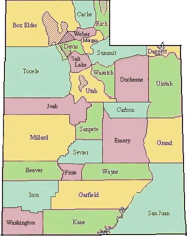 map of utah county. tattoo county map of Utah;